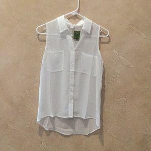 NWT white button up sleeveless